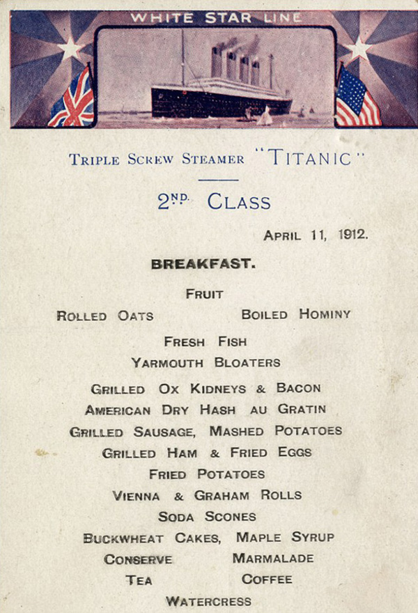 BNPS.co.uk (01202 558833) Pic: HAldridge/BNPS ***Must Use Full Byline*** An incredibly rare menu from the Titanic that doubled as a postcard and bears the words 'good voyage up to now' is tipped to sell for £80,000. The menu was for breakfast in the second class restaurant on the ill-fated liner on Thursday April 11, 1912. It is estimated there are about 20 Titanic menus in existance but most of those relate to the first class restaurant for April 14 - the day the ship hit an iceberg. That is because more first class passengers survived the sinking and some happened to have the menus in their handbags or jacket pockets when they entered the lifeboats.