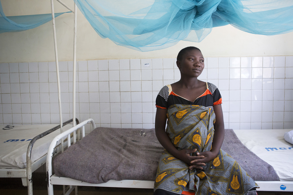 Agnes Noti, 22 3rd pregnancy. In labour and just arrived at the hospital. Not in active labour so in the ward. Kiomboi District Hospital, in Kiomboi, Tanzania.