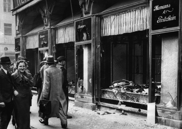 Damaged Jewish Owned Storefront after Kristallnacht Riot
