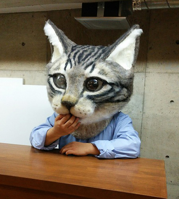cat-head-mask-needle-felt-housetu-sato-japan-school-wool-art-8