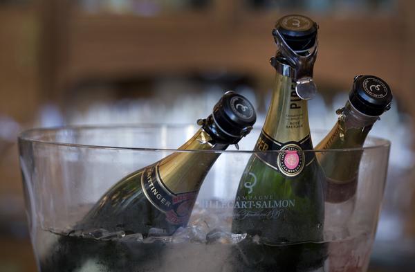 Champagne bottles in a bucket