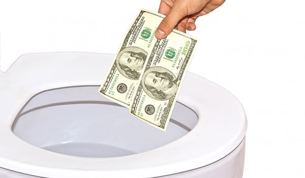 money in the toilet